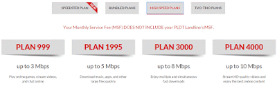 PLDT Plan up to 3MBPS