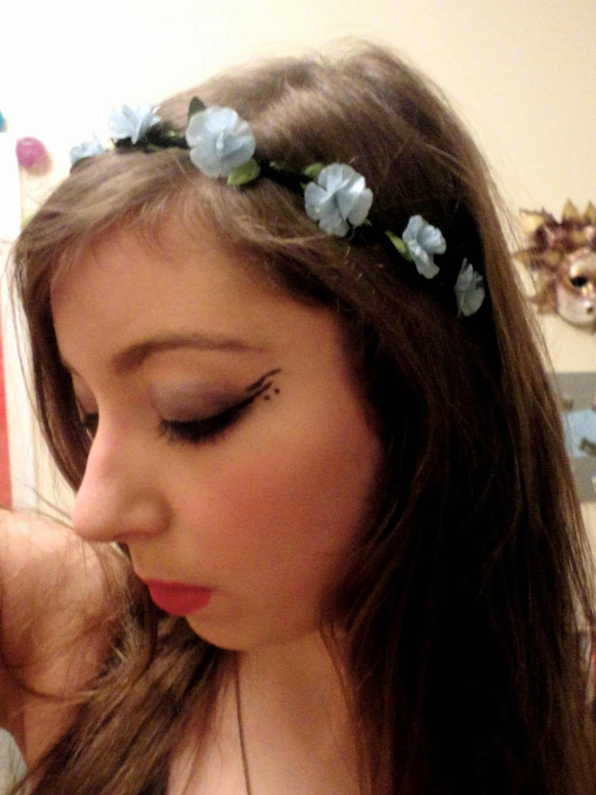 Birthday party nymph elf outfit details of blue flower crown and eye makeup