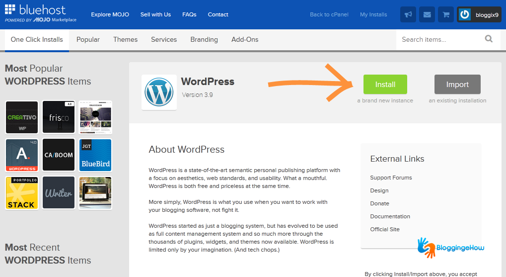 bluehost dashboard install wordpress