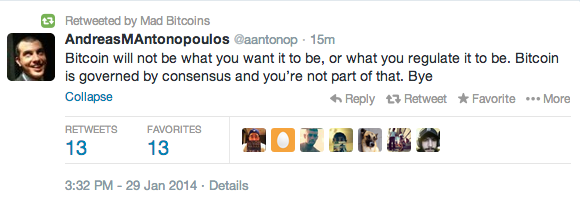 Tweet response to regulators from AndreasMAntonopoulos of Mad Bitcoins