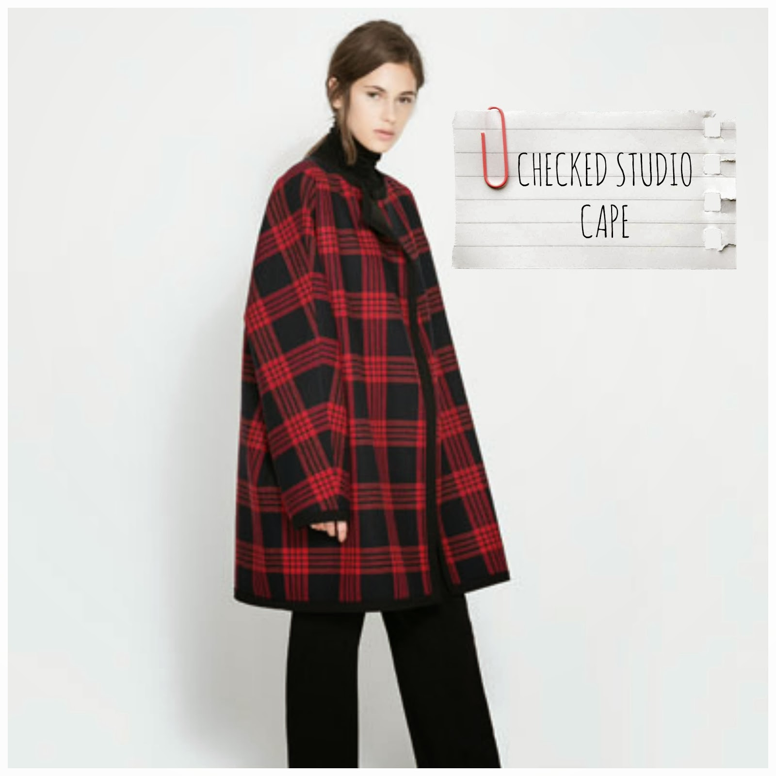 Checked Studio Cape - Zara