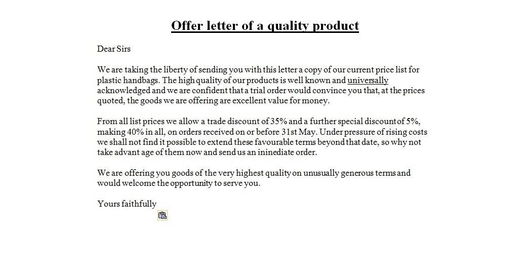 Special Offer Letter