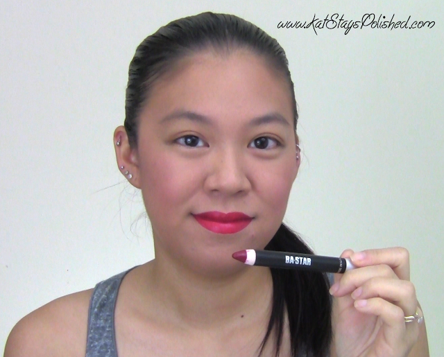 BA Star - Holiday Red Lip Pencil - Initial application