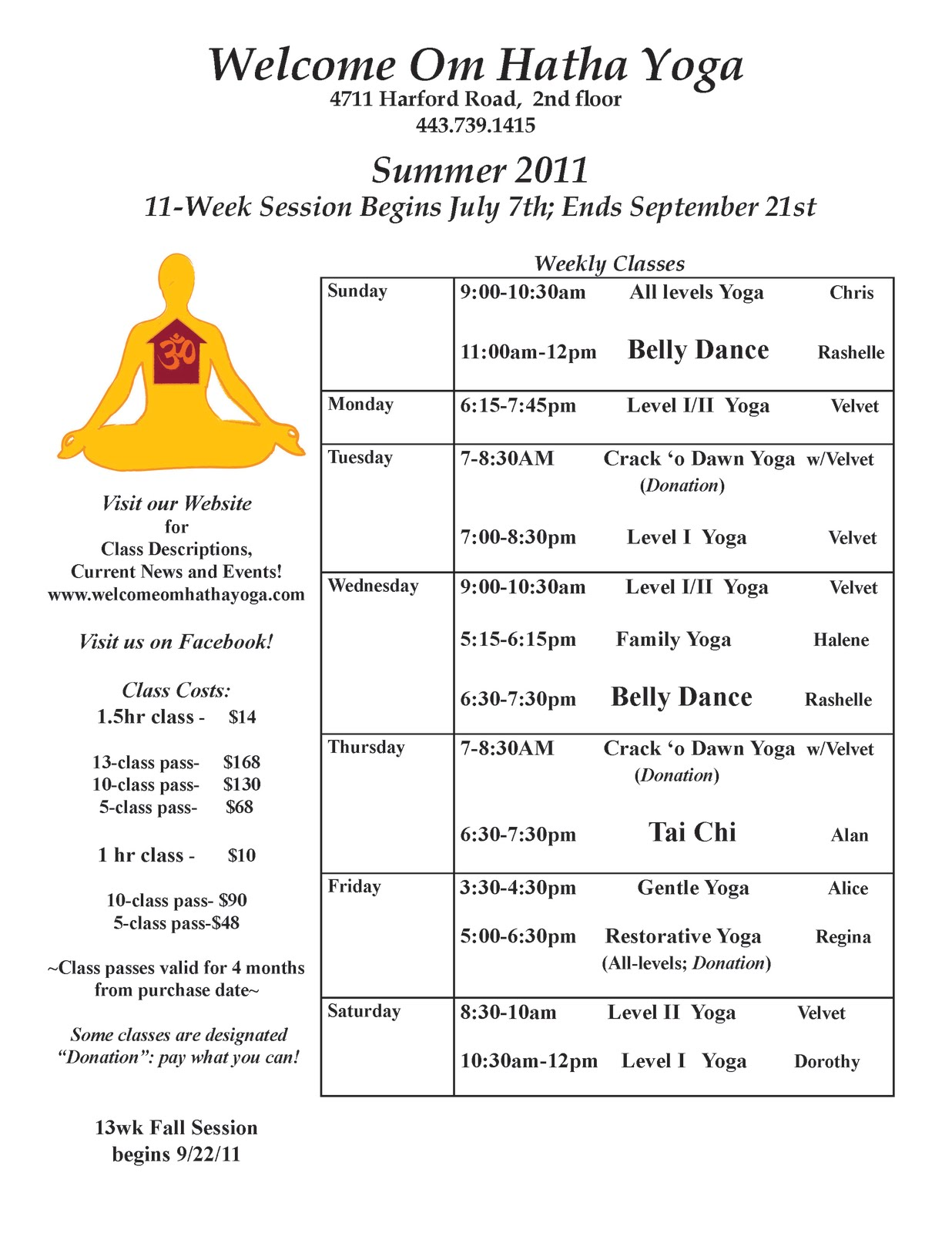 Hamilton lauraville main street news summer 2011 class schedule summer 2011 class schedule at welcome om yoga baltimore 21214 maxwellsz