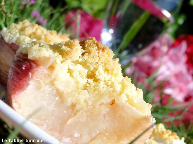 Les pêches bio (brugnons ou nectarines) comme des crumbles, le dessert sans prise de tête !