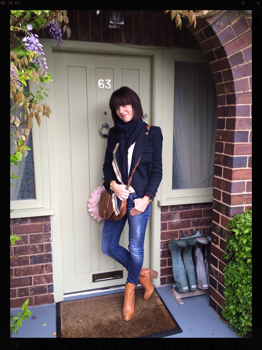 My Midlife Fashion, Mango, Zara, Clarks, Saddle Bag, Tan boots, Navy blazer, skinny jeans