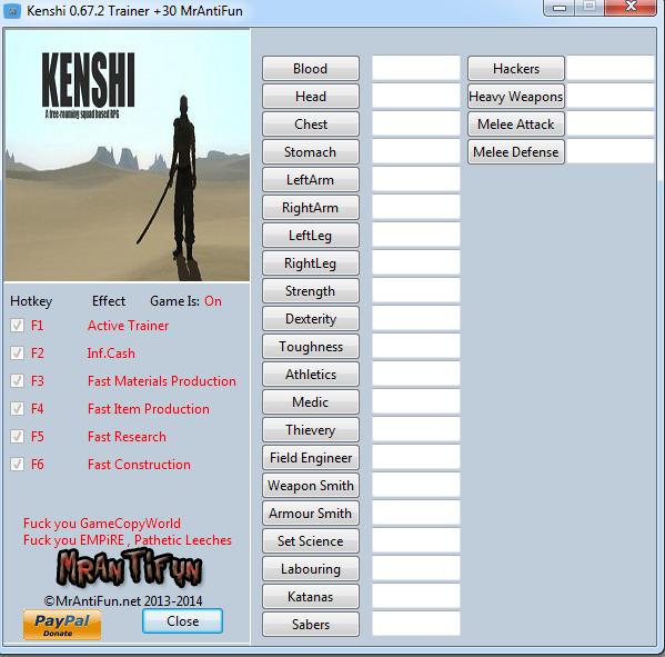 Kenshi 0.67.2 Trainer +30 MrAntiFun