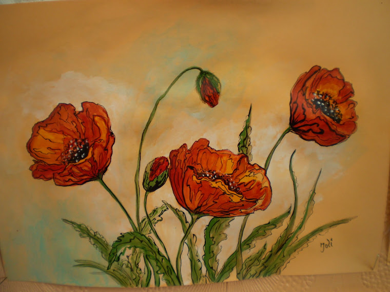 Poppies PA3, watercolor, signed Joli, A4