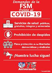 Cartel de reivindicaciones FSM ante el brote de COVID-19