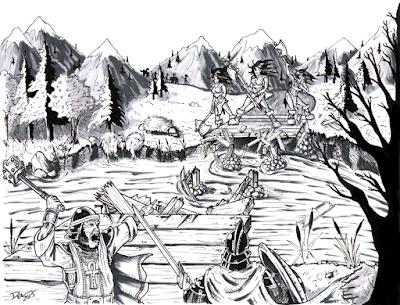 Giantesses at the Bridge by Del Teigeler