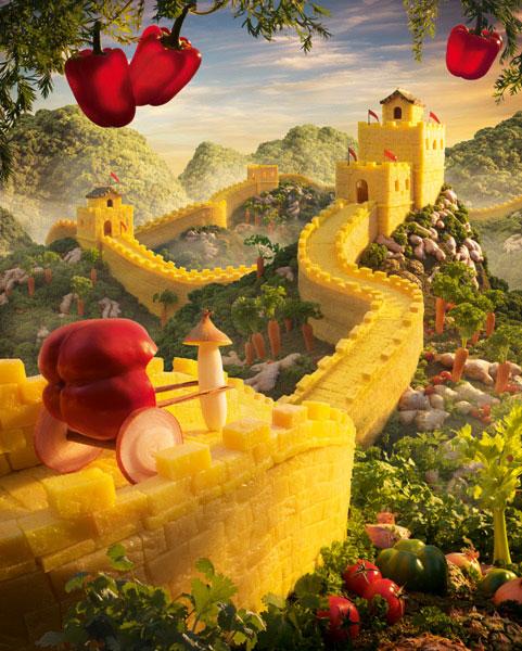 Quinze paisagens surreais criadas com alimentos.