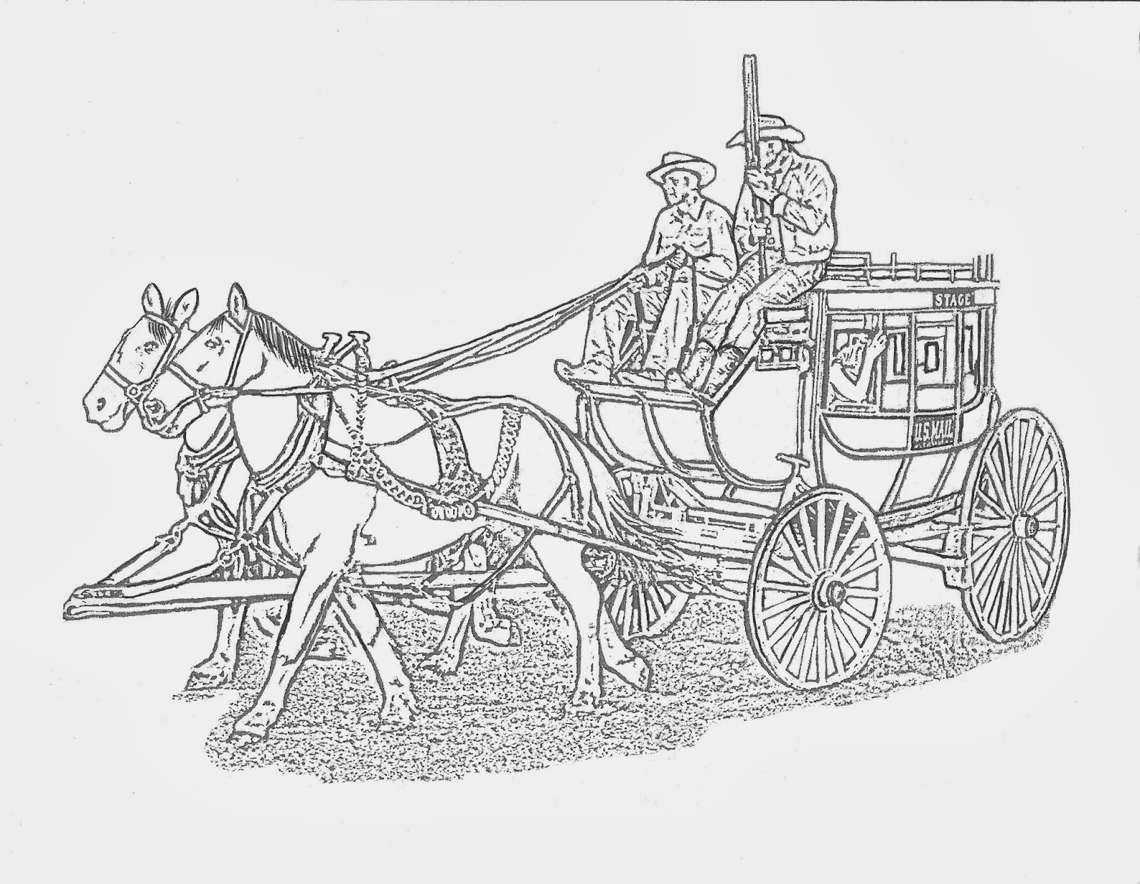 WESTERN COLORING PAGES: WESTERN STAGE COACH COLORING PAGE By DANCING ...