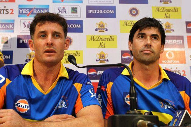 Stephen-Fleming-Michael-Hussey-CSK-vs-MI-IPL-final-2013