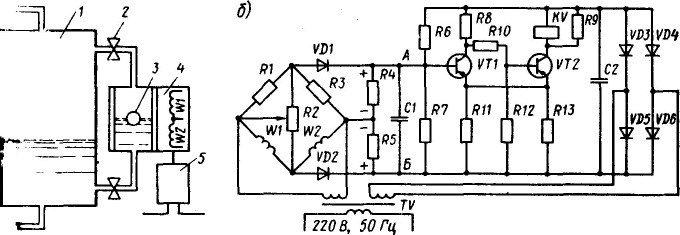 Реле уровня ПРУ-5: а - схема