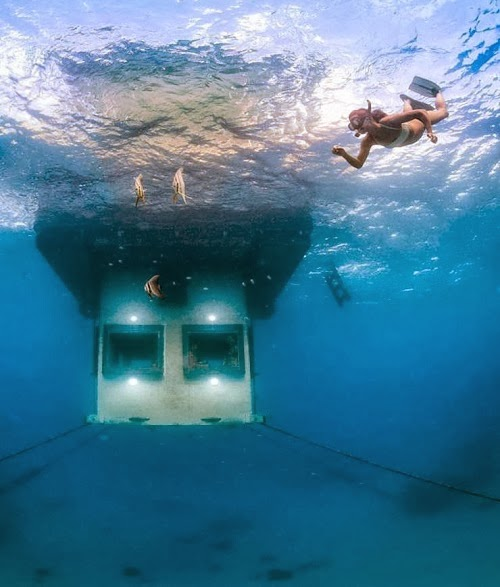 Ọmọ O 243 Dua Pixs Underwater Hotel Room Lets Guests Sleep