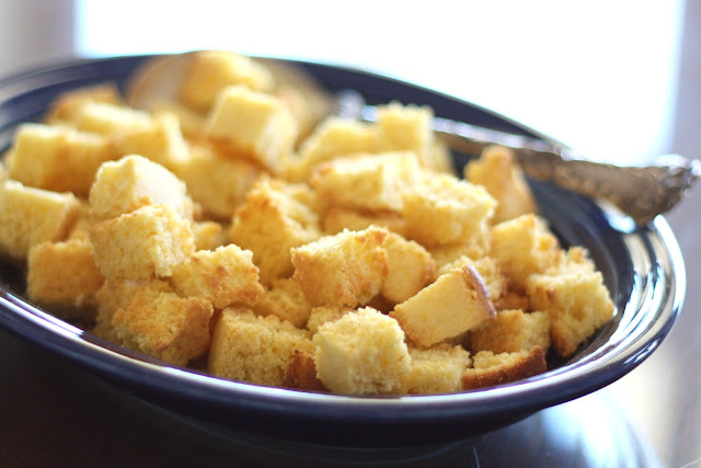 Cornbread Croutons recipe by Barefeet In The Kitchen