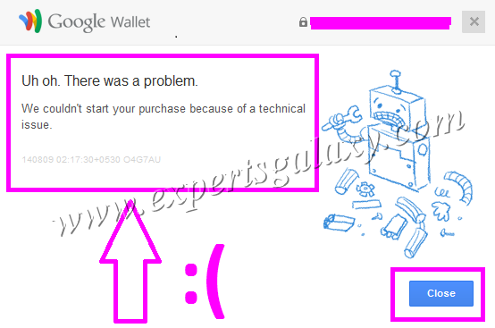 Google Wallet Technical Issue Screen