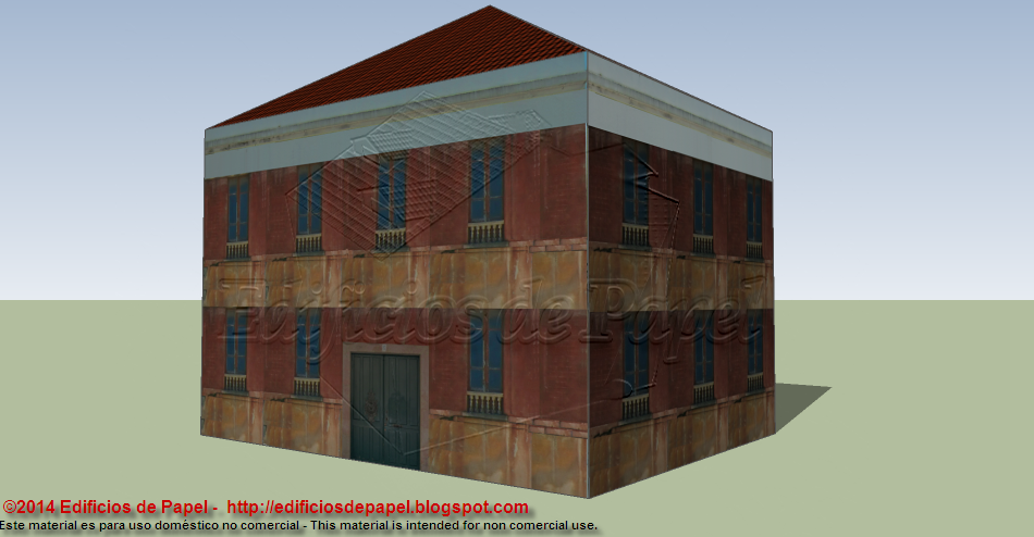 Second version of the reddish house papermodel