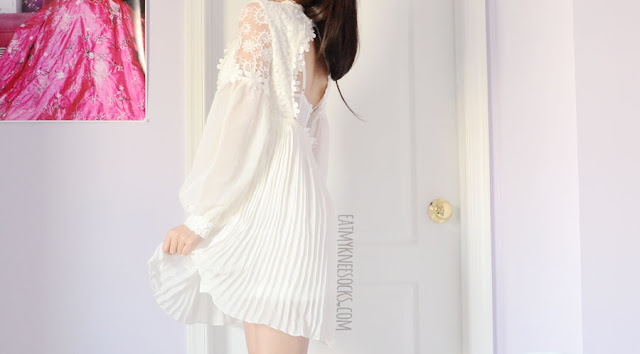 An elegant, ulzzang-inspired outfit featuring SheIn's white floral lace pleated backless mock-neck crochet dress and spiked white Jeffrey Campbell Lita platform booties.