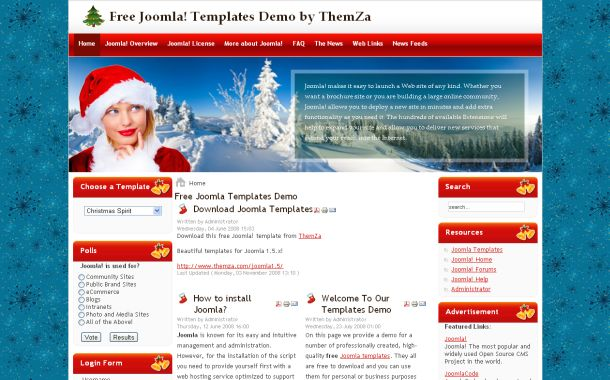 Free Happy Christmas Blue Red Joomla Template