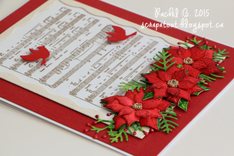 Handmade card, Winter, Poinsettias, Cardinals, Impression Obsession