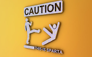 """Caution: This is Sparta"" with one stick figure kicking another"