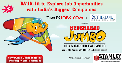 HYDERABAD JUMBO JOB & CAREER FAIR 3RD AND 4TH AUGUST 2013 | HYDERABAD
