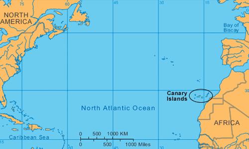 Situacin geogrfica de la Islas Canarias Isla de Tenerife Vvela