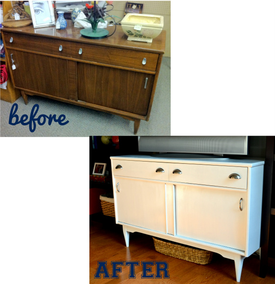 Media Console Makeover Before and After.
