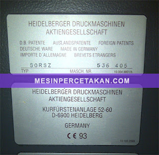 Heidelberg SORSZ - 2 warna | Original Germany | Serial Number