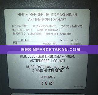 Heidelberg SORSZ - 2 warna | Original Germany | Serial Number