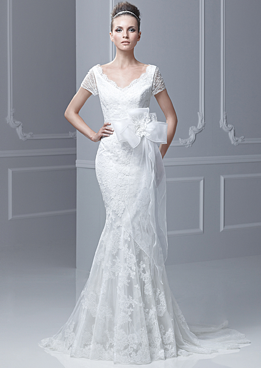 Lace V-neck Backless Mermaid Wedding Dress With Short Sleeves