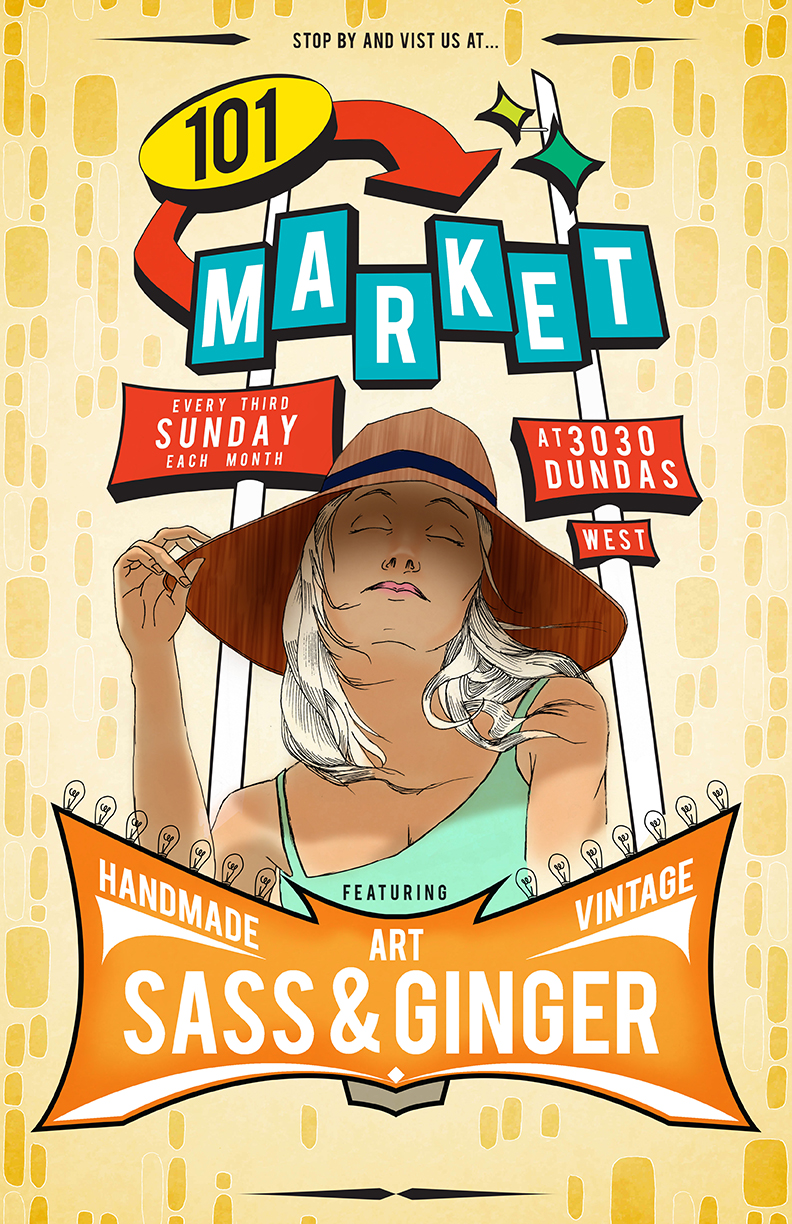 Poster design 101 - Looked To Do A New Revamped Poster For A Local Vintage Marketplace That I Have Become A Part Of With My Side Project And Company Sass Ginger