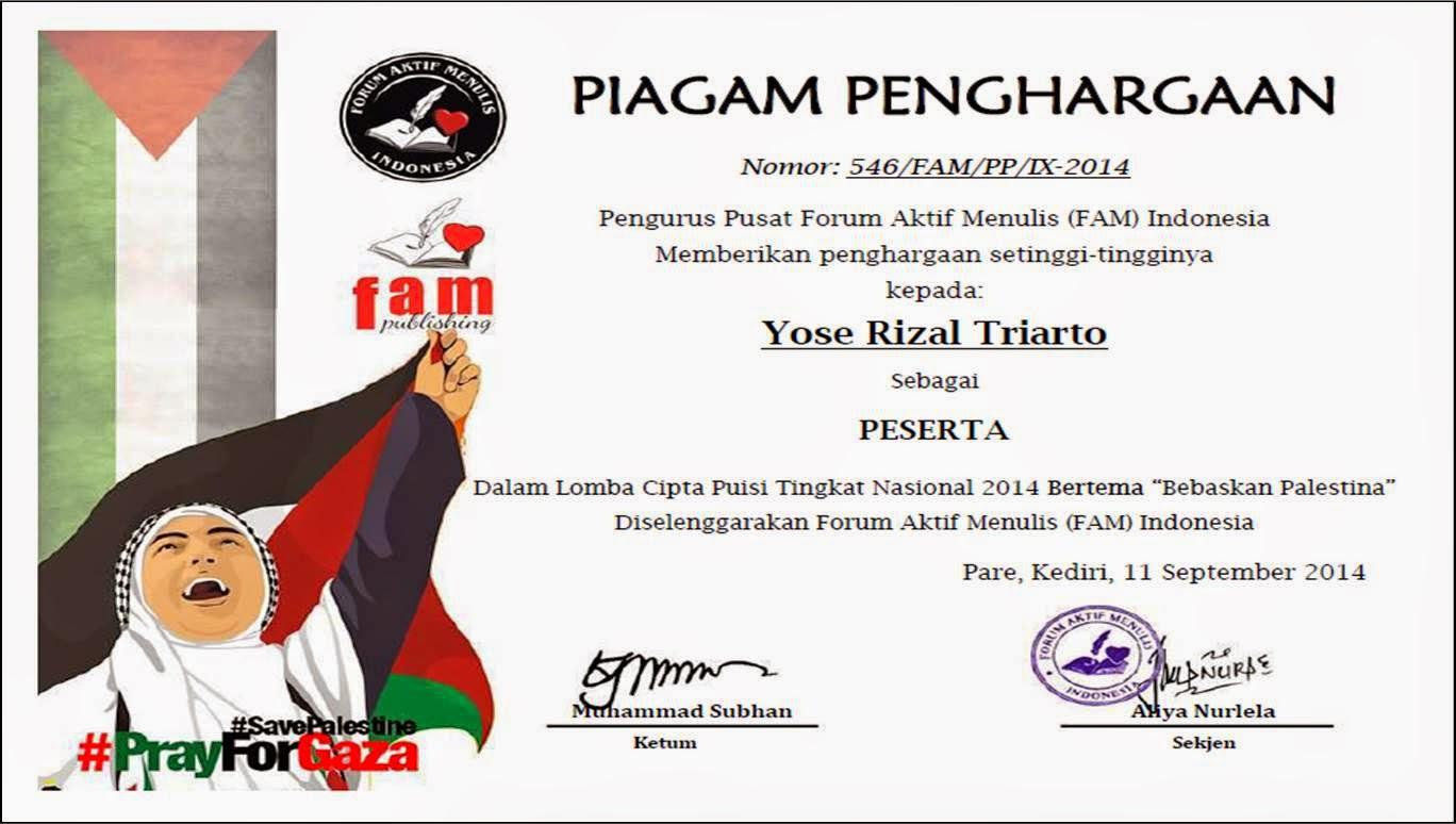 """FAM Indonesia Lomba Cipta Puisi Nasional Bertema """"Bebaskan Palestina"""""""