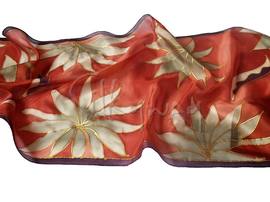 Karácsonyi ajándék nőknek - trópusi virágok selyem sálak nőknek