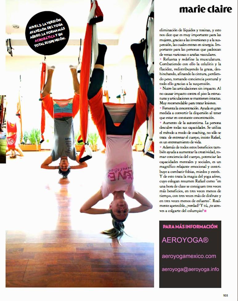 Ejercicio, AeroYoga®: yoga aéreo en prensa Marie Claire México latino América