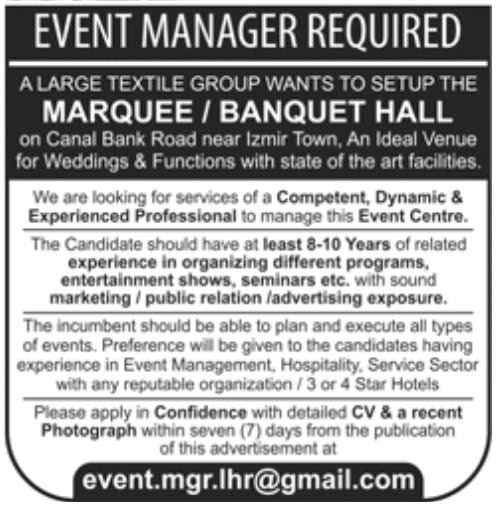 Manager Jobs In Marquee Banquet Hall Lahore March 2018 - Daily Jobs ...