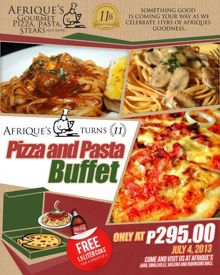 Pizza and pasta buffet as afrique 39 s turns 11 flavours of for Q kitchen pasta buffet