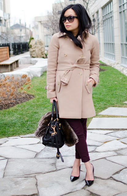 J.Crew Stadium-cloth boulevard trench, camel coat, Prada shoes, Zara, Prada