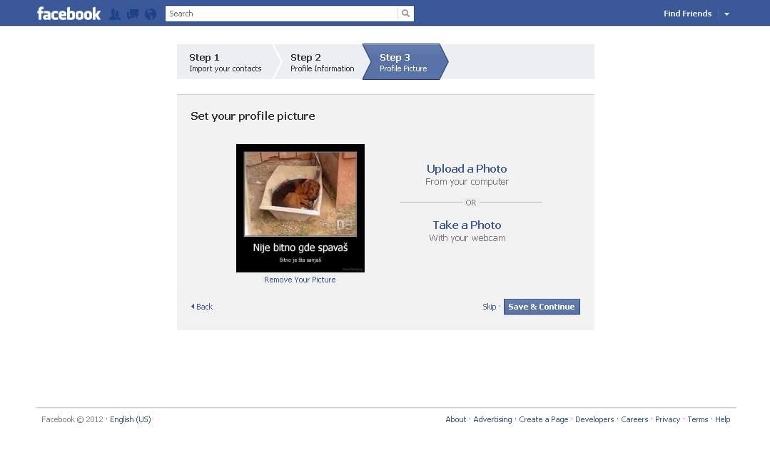 vašu sliku na svoj server i postaviti je kao vašu profilnu sliku