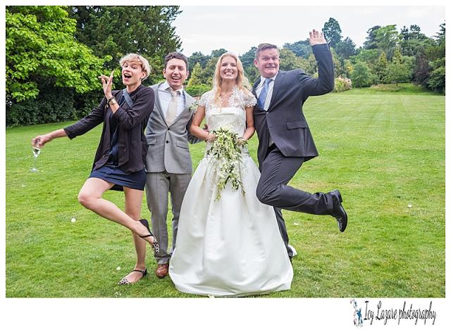 Funny wedding photograph group shoot