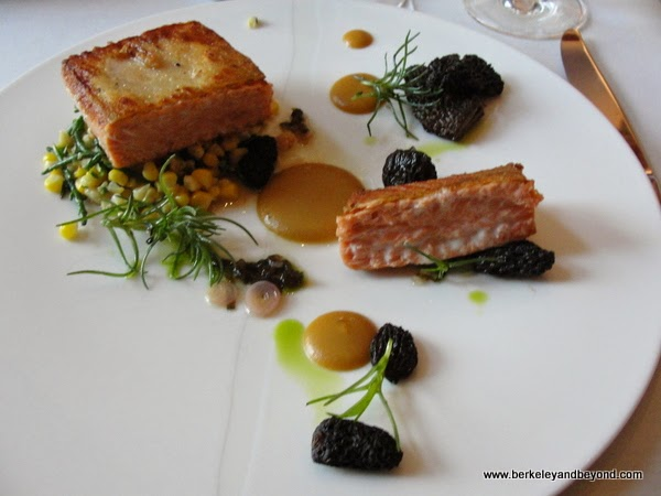 salmon with black morels at Nine-Ten restaurant in La Jolla, California