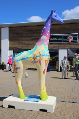 Nextra-terrestrial giraffe sculpture at Clacton Factory Outlet - Stand Tall for Giraffes at Colchester Zoo