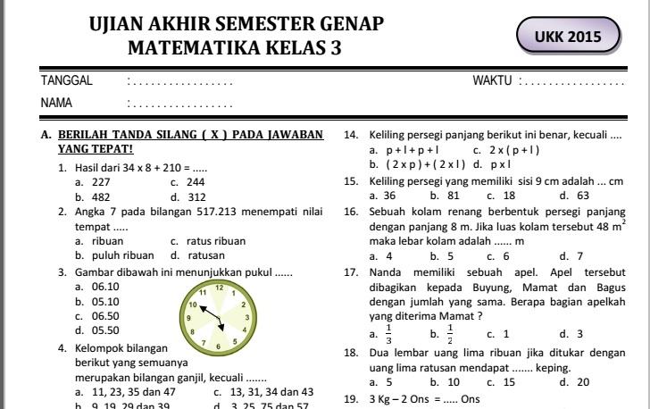 Contoh Soal Mtk Kelas 3 Sd Semester 2 Tugas Dan Materi