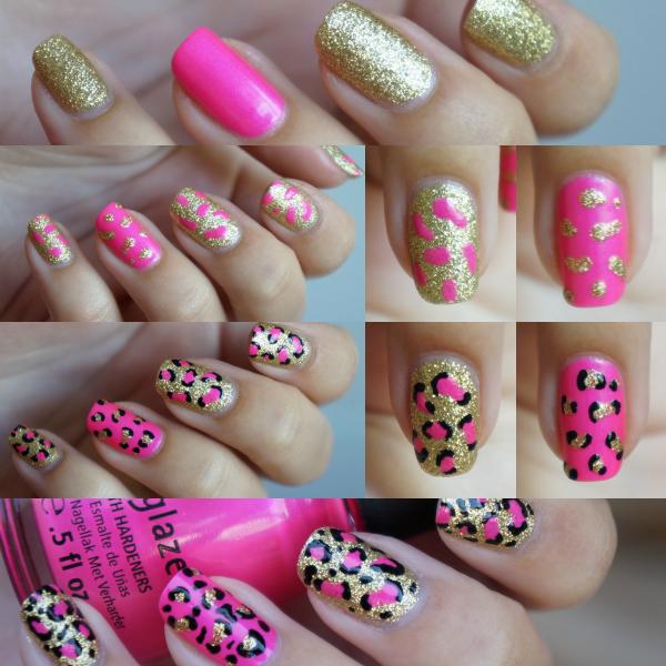 Diy Snow Leopard Nail Art: Leopard Nails Pink 'Kitty Kitty