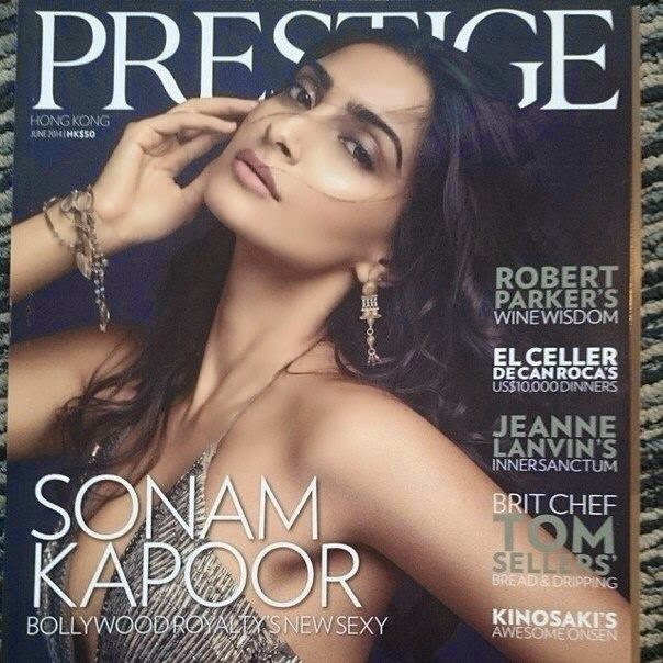 Sonam Kapoor on the cover of Prestige Hong Kong magazine!