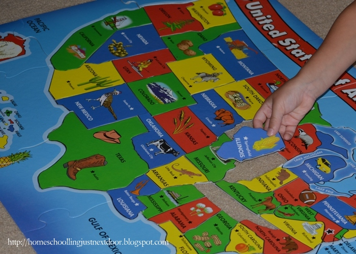 Homeschooling Just Next Door American Geography Resources And Ideas - Melissa and doug usa map puzzle