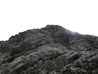 Blick nach oben auf die folgenden vier Seillängen