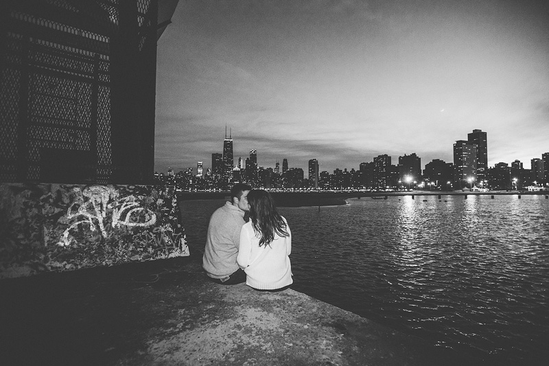 Chicago evening night engagement wedding photo