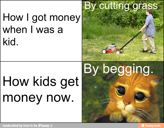 How I got money when I was a kid. Boy cutting grass and cat begging.